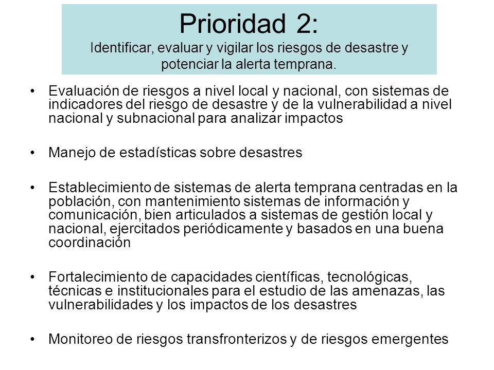 Evaluación de riesgos a nivel local y nacional, con sistemas de indicadores del riesgo de desastre y de la vulnerabilidad a nivel nacional y subnacion