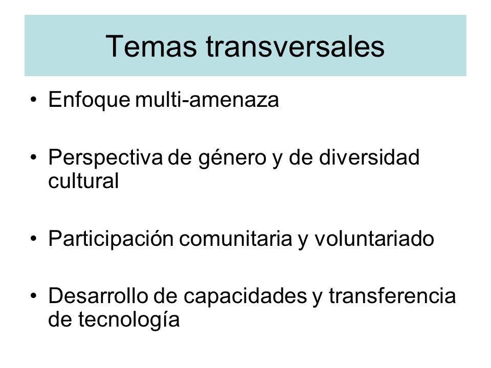 Temas transversales Enfoque multi-amenaza Perspectiva de género y de diversidad cultural Participación comunitaria y voluntariado Desarrollo de capaci