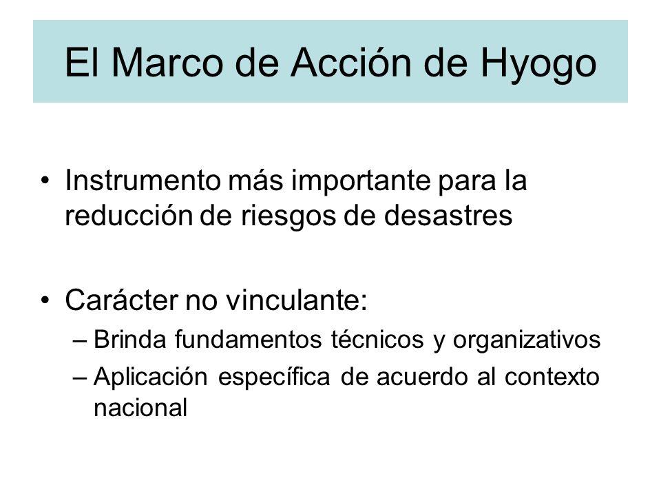 El Marco de Acción de Hyogo Instrumento más importante para la reducción de riesgos de desastres Carácter no vinculante: –Brinda fundamentos técnicos