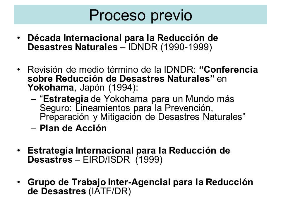 Cumbre Mundial sobre Desarrollo sostenible en Johannesburgo (2002) Viviendo con el Riesgo (Living with Risk), EIRD, 2002 Conocer el Riesgo (Know Risk), EIRD, 2004 Reduciendo el Riesgo de Desastres: Un Reto para el Desarrollo incluyendo un Índice Global de Reducción de Riesgo (Global Disaster Risk Index), PNUD, 2004.