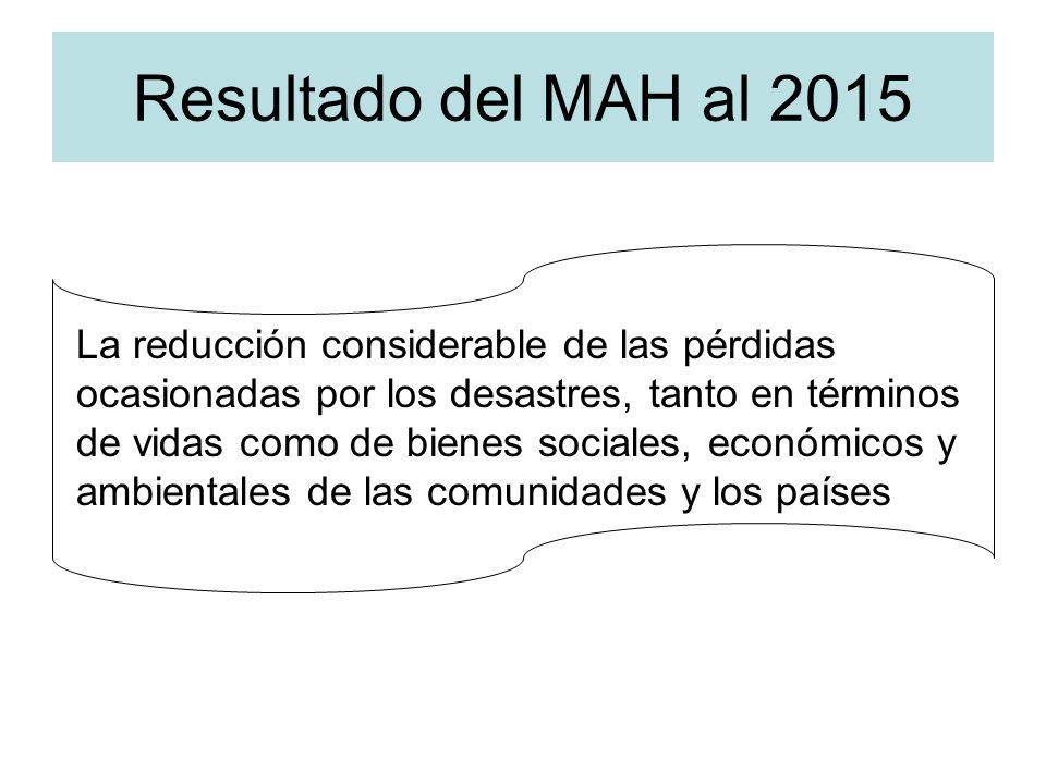 Resultado del MAH al 2015 La reducción considerable de las pérdidas ocasionadas por los desastres, tanto en términos de vidas como de bienes sociales,