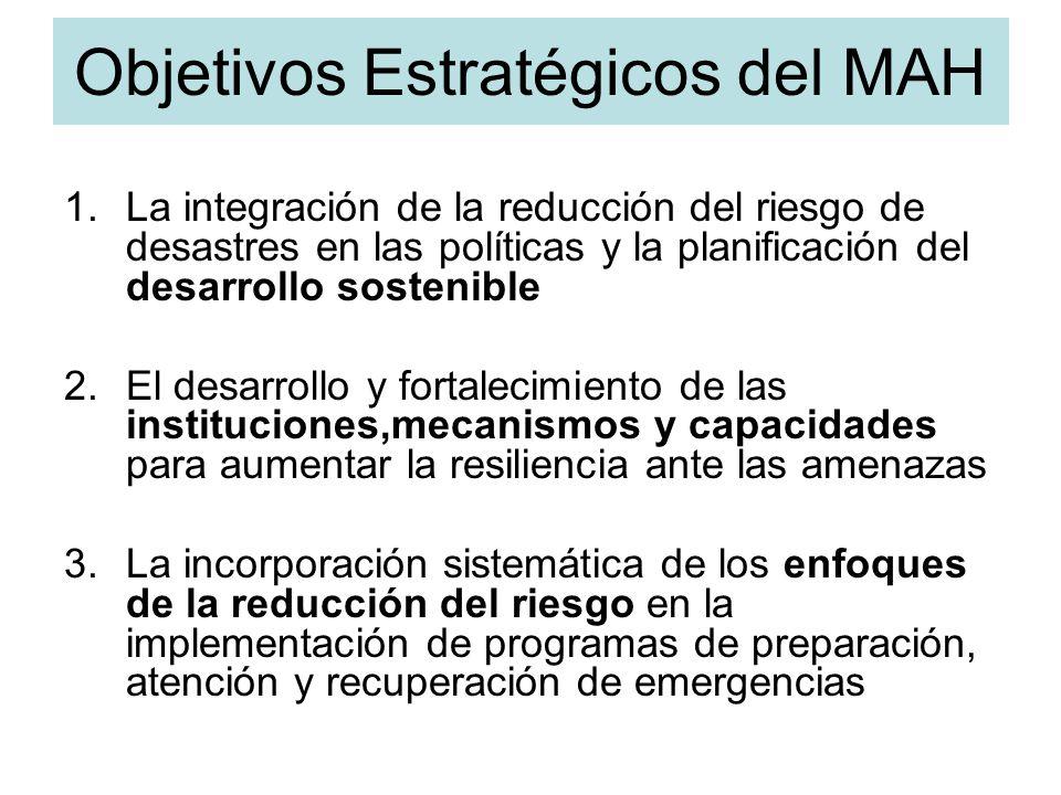 Objetivos Estratégicos del MAH 1.La integración de la reducción del riesgo de desastres en las políticas y la planificación del desarrollo sostenible