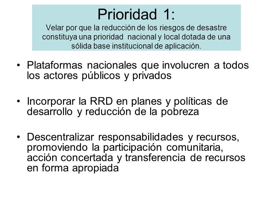 Prioridad 1: Velar por que la reducción de los riesgos de desastre constituya una prioridad nacional y local dotada de una sólida base institucional d