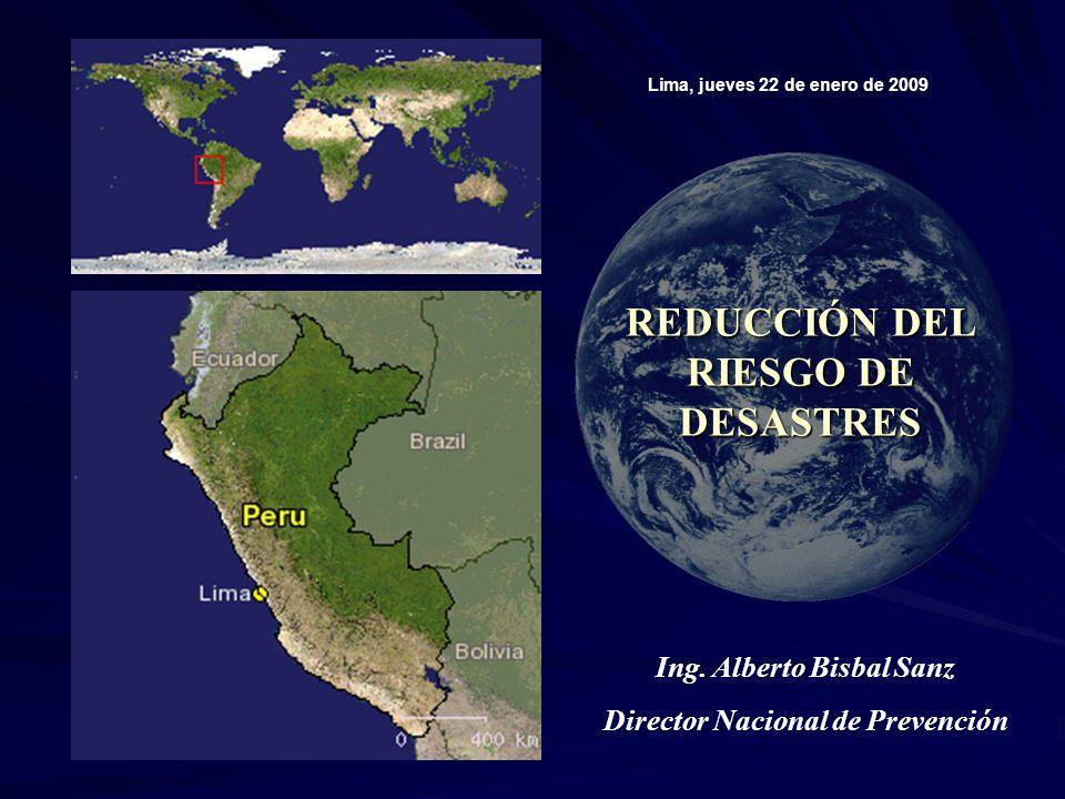 REDUCCIÓN DEL RIESGO DE DESASTRES Lima, jueves 22 de enero de 2009 Ing.