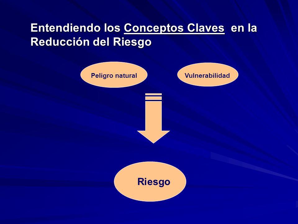 Entendiendo los Conceptos Claves en la Reducción del Riesgo Peligro naturalVulnerabilidad Riesgo