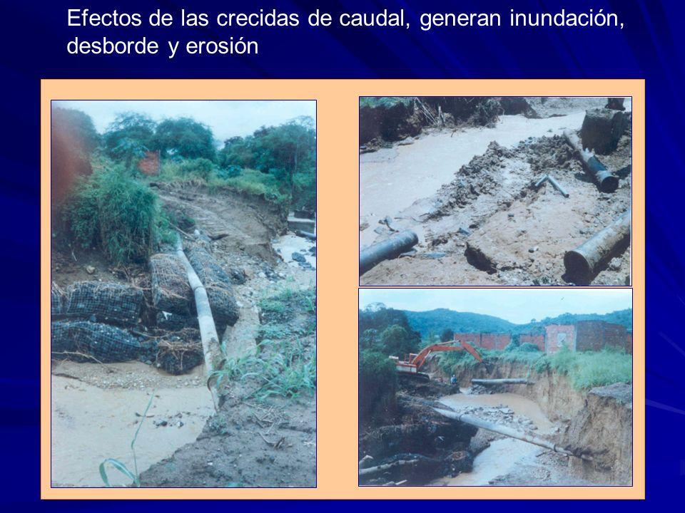 Efectos de las crecidas de caudal, generan inundación, desborde y erosión