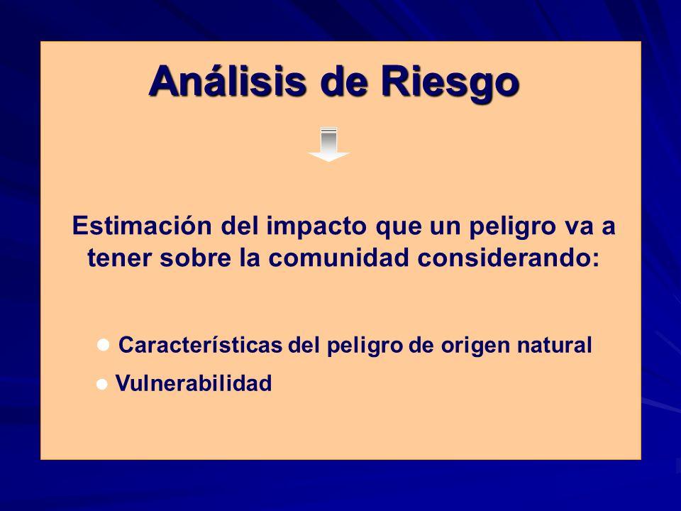 Análisis de Riesgo Estimación del impacto que un peligro va a tener sobre la comunidad considerando: Características del peligro de origen natural Vulnerabilidad