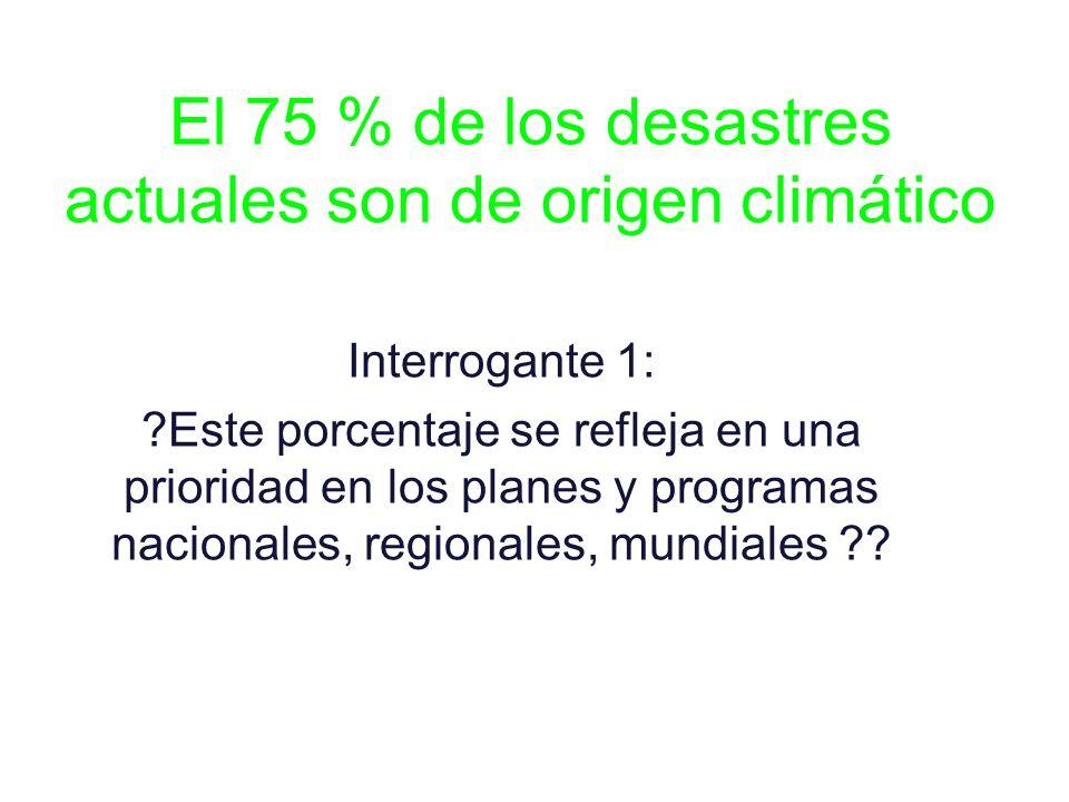 El 75 % de los desastres actuales son de origen climático Interrogante 1: ?Este porcentaje se refleja en una prioridad en los planes y programas nacio