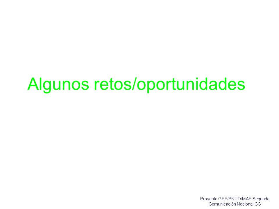 Algunos retos/oportunidades Proyecto GEF/PNUD/MAE Segunda Comunicación Nacional CC