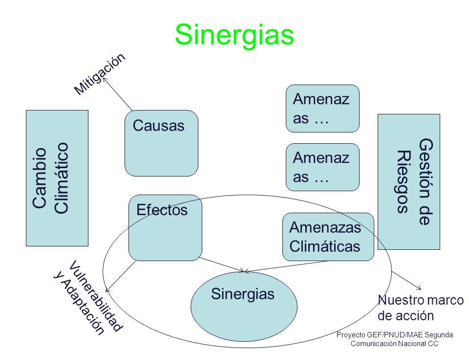 Sinergias Cambio Climático Mitigación Vulnerabilidad y Adaptación Gestión de Riesgos Causas Amenaz as … Efectos Amenaz as … Amenazas Climáticas Sinerg