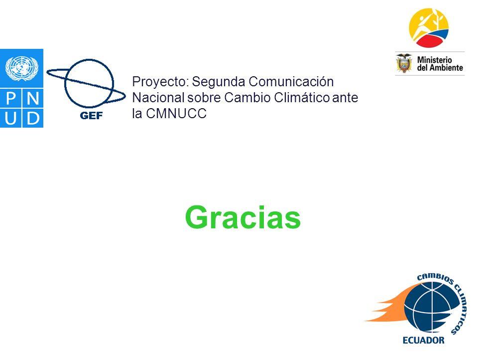 Gracias Proyecto: Segunda Comunicación Nacional sobre Cambio Climático ante la CMNUCC