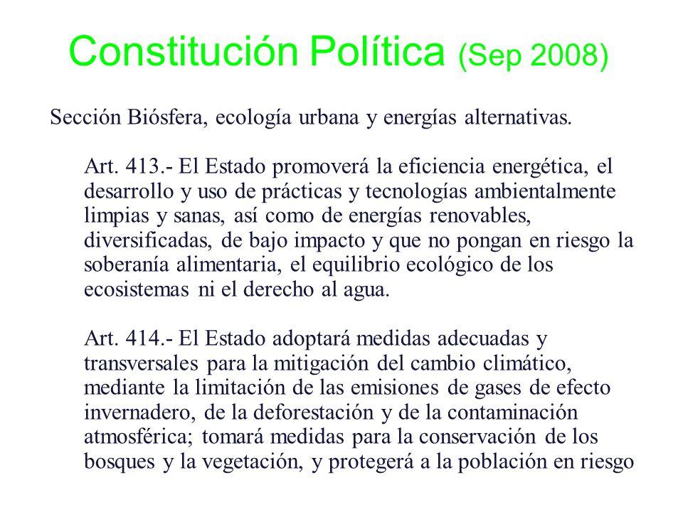 Sección Biósfera, ecología urbana y energías alternativas. Art. 413.- El Estado promoverá la eficiencia energética, el desarrollo y uso de prácticas y