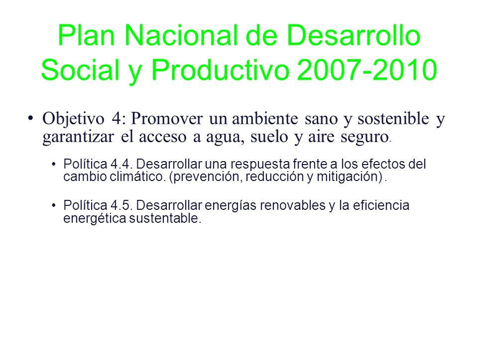 Plan Nacional de Desarrollo Social y Productivo 2007-2010 Objetivo 4: Promover un ambiente sano y sostenible y garantizar el acceso a agua, suelo y ai