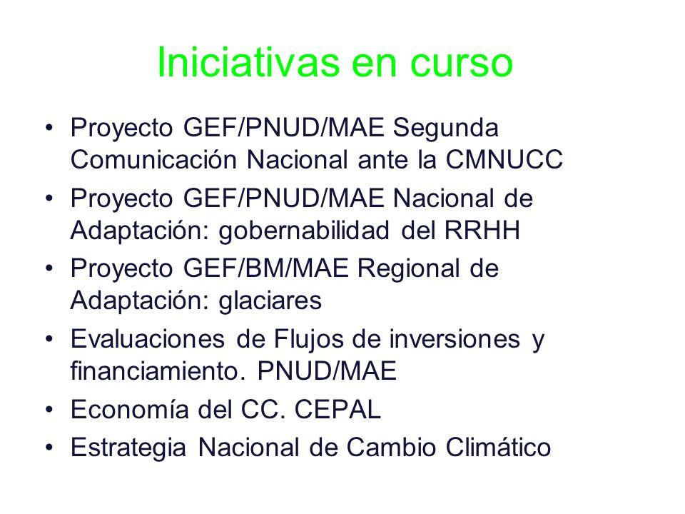 Iniciativas en curso Proyecto GEF/PNUD/MAE Segunda Comunicación Nacional ante la CMNUCC Proyecto GEF/PNUD/MAE Nacional de Adaptación: gobernabilidad d