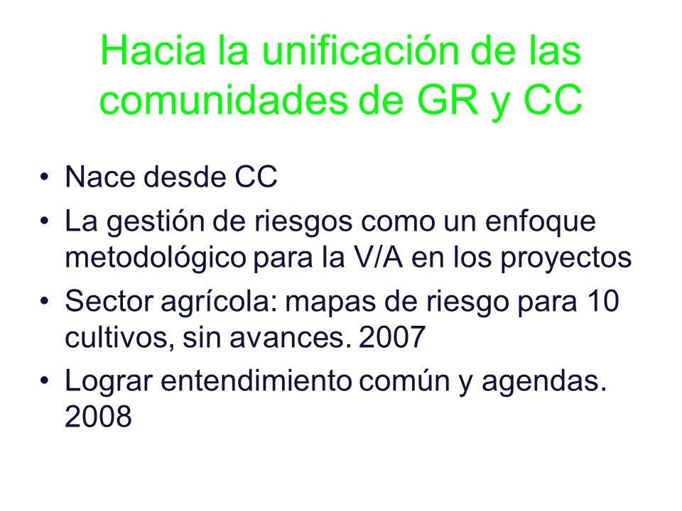 Hacia la unificación de las comunidades de GR y CC Nace desde CC La gestión de riesgos como un enfoque metodológico para la V/A en los proyectos Secto
