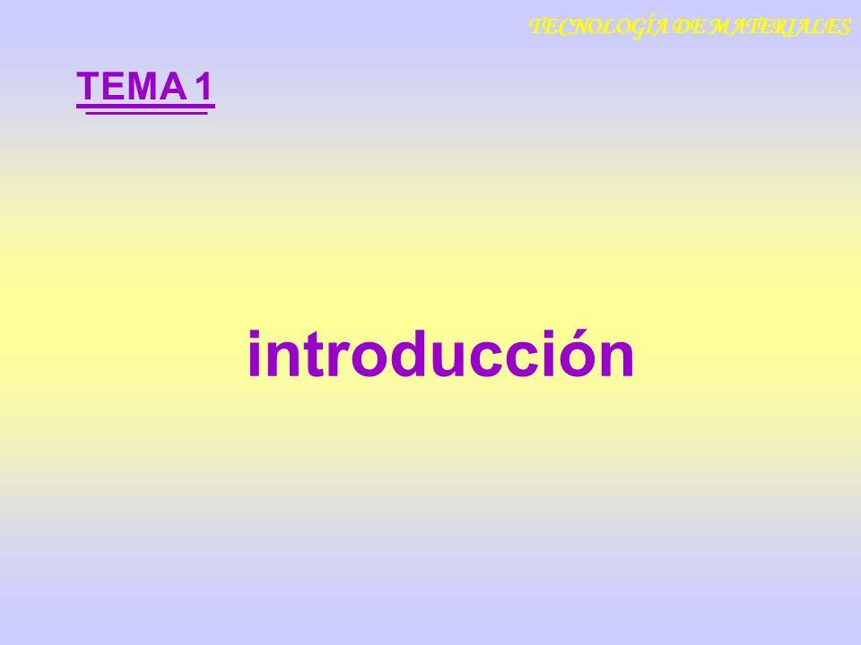 introducción TEMA 1 TECNOLOGÍA DE MATERIALES