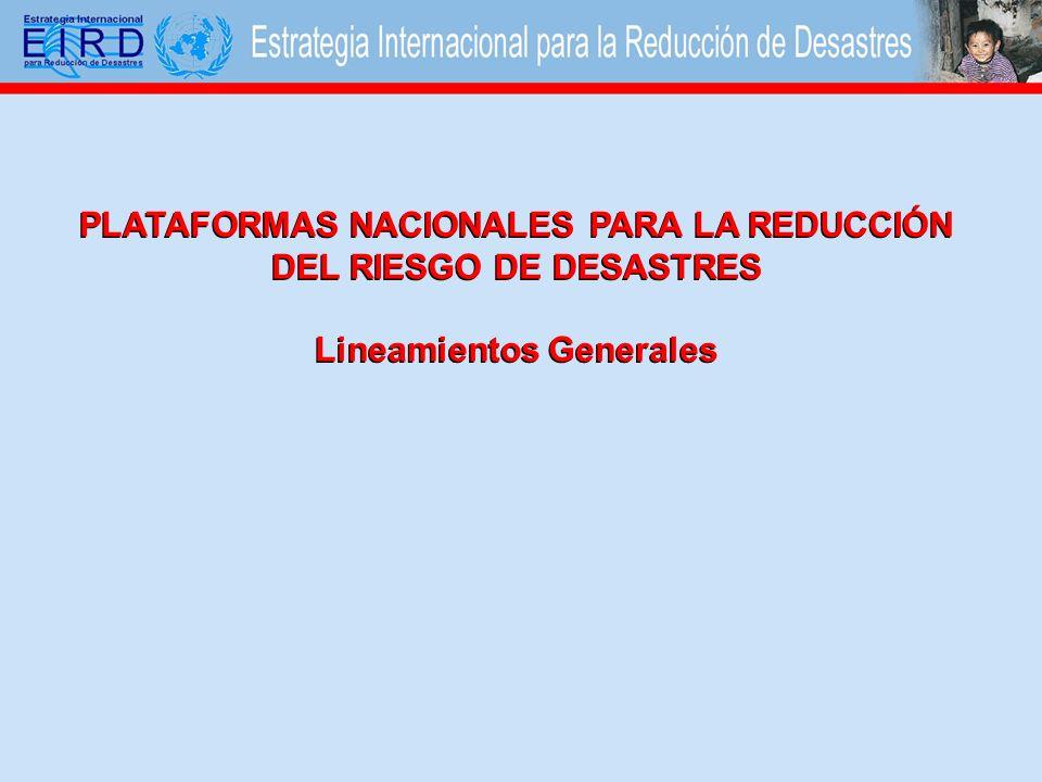 PLATAFORMAS NACIONALES PARA LA REDUCCIÓN DEL RIESGO DE DESASTRES Lineamientos Generales
