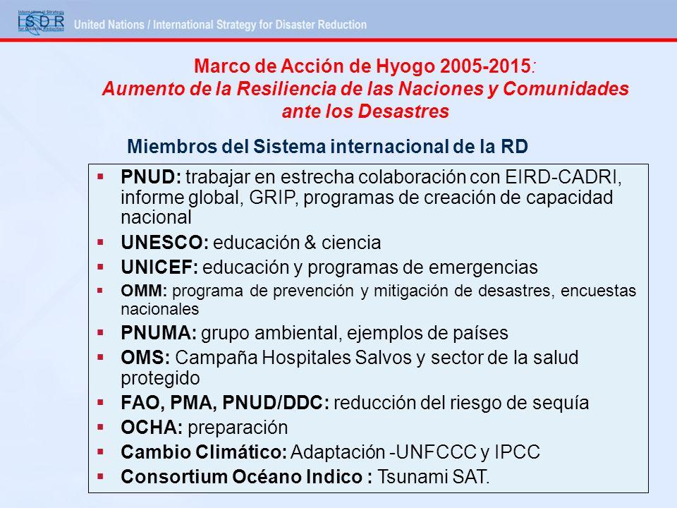 Marco de Acción de Hyogo 2005-2015: Aumento de la Resiliencia de las Naciones y Comunidades ante los Desastres Miembros del Sistema internacional de l