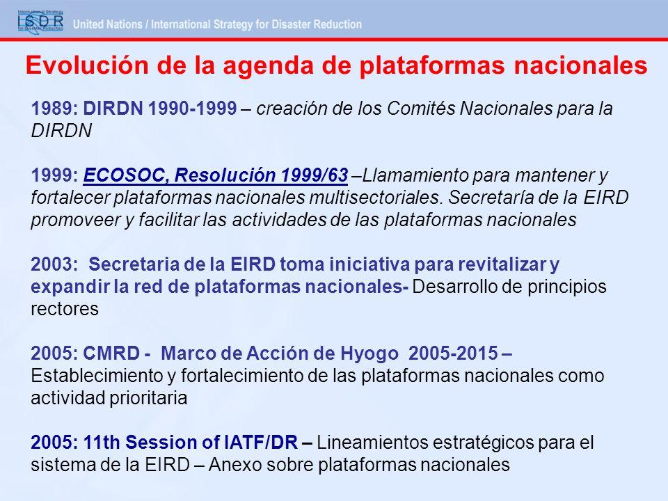Evolución de la agenda de plataformas nacionales 1989: DIRDN 1990-1999 – creación de los Comités Nacionales para la DIRDN 1999: ECOSOC, Resolución 199
