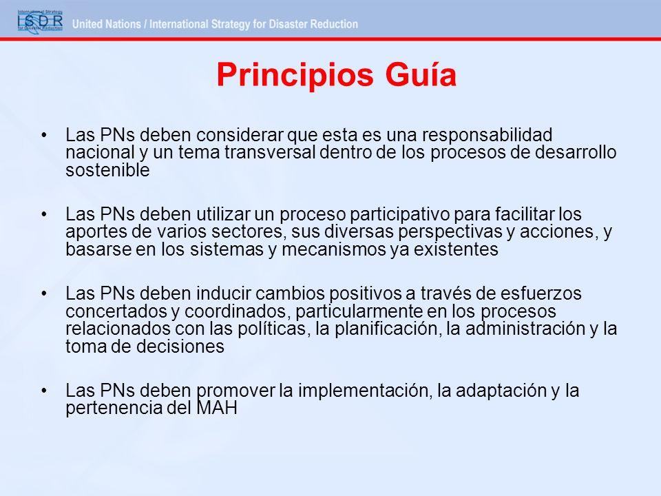 Principios Guía Las PNs deben considerar que esta es una responsabilidad nacional y un tema transversal dentro de los procesos de desarrollo sostenibl
