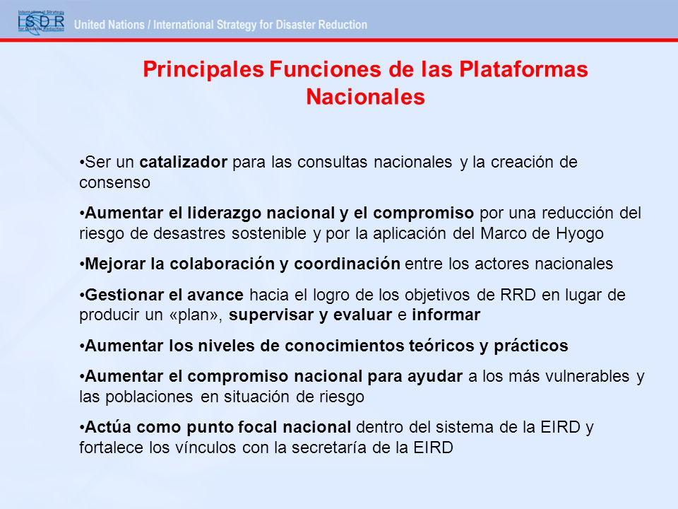 Principales Funciones de las Plataformas Nacionales Ser un catalizador para las consultas nacionales y la creación de consenso Aumentar el liderazgo n