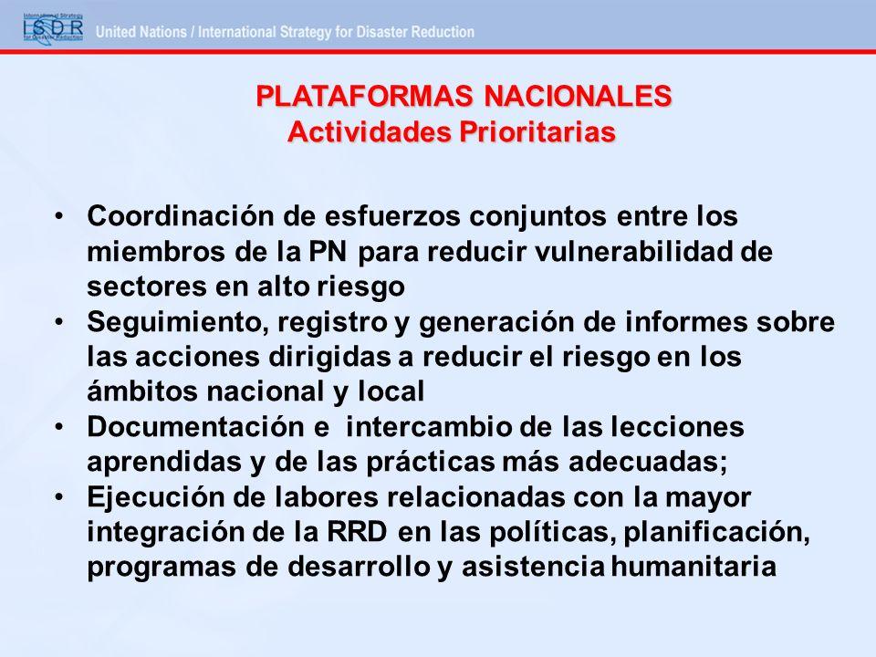 PLATAFORMAS NACIONALES Actividades Prioritarias Coordinación de esfuerzos conjuntos entre los miembros de la PN para reducir vulnerabilidad de sectore