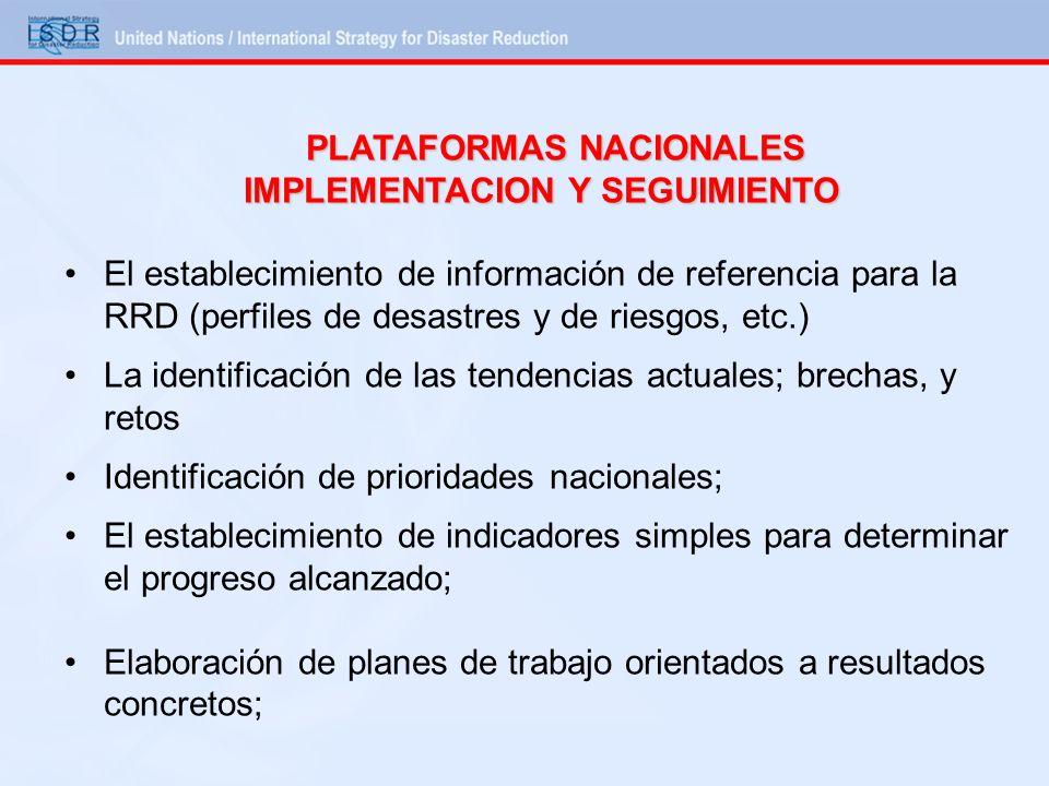 PLATAFORMAS NACIONALES IMPLEMENTACION Y SEGUIMIENTO El establecimiento de información de referencia para la RRD (perfiles de desastres y de riesgos, e