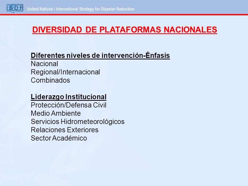Diferentes niveles de intervención-Énfasis Nacional Regional/Internacional Combinados Liderazgo Institucional Protección/Defensa Civil Medio Ambiente