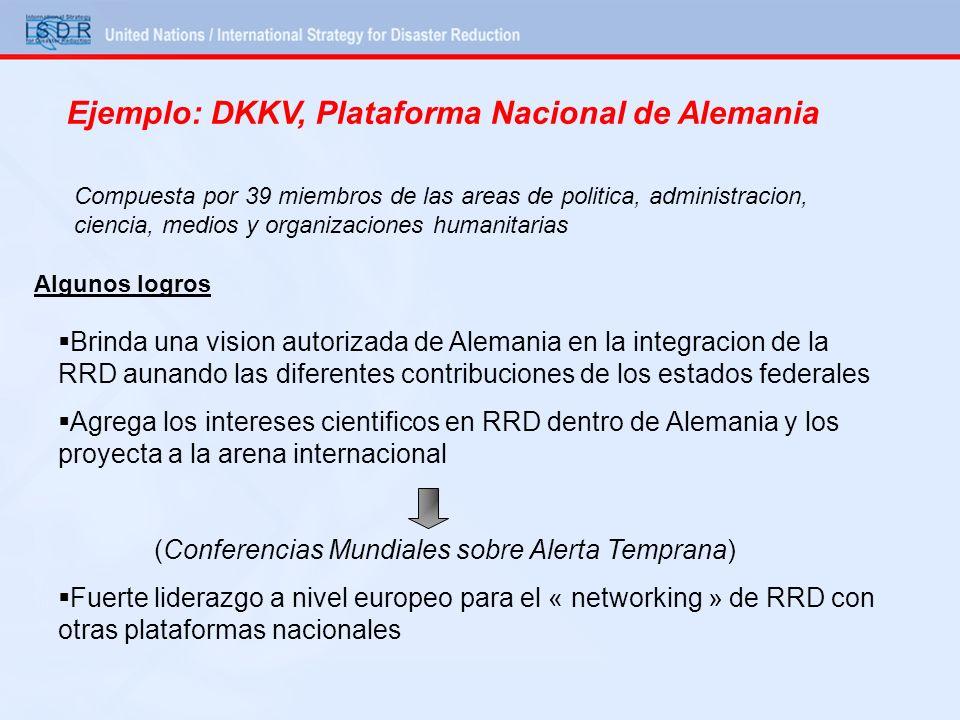 Ejemplo: DKKV, Plataforma Nacional de Alemania Compuesta por 39 miembros de las areas de politica, administracion, ciencia, medios y organizaciones hu