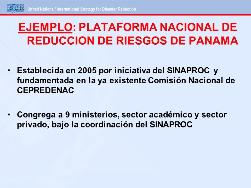 EJEMPLO: PLATAFORMA NACIONAL DE REDUCCION DE RIESGOS DE PANAMA Establecida en 2005 por iniciativa del SINAPROC y fundamentada en la ya existente Comis