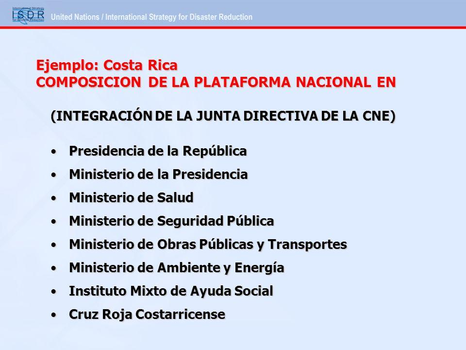 Ejemplo: Costa Rica COMPOSICION DE LA PLATAFORMA NACIONAL EN (INTEGRACIÓN DE LA JUNTA DIRECTIVA DE LA CNE) Presidencia de la RepúblicaPresidencia de l