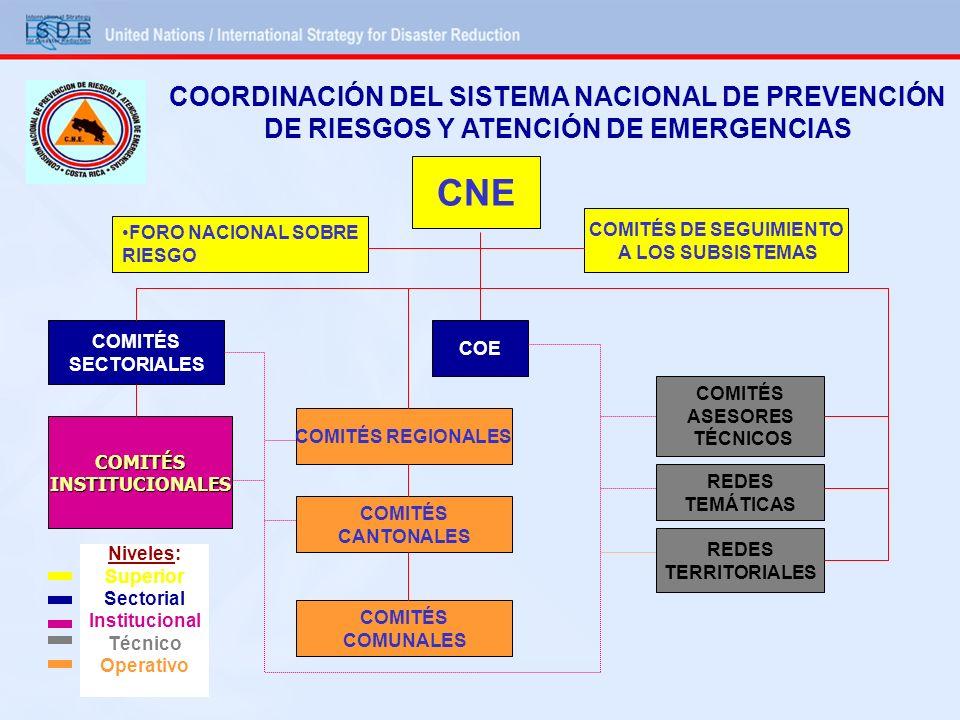 COORDINACIÓN DEL SISTEMA NACIONAL DE PREVENCIÓN DE RIESGOS Y ATENCIÓN DE EMERGENCIAS CNE COMITÉS DE SEGUIMIENTO A LOS SUBSISTEMAS FORO NACIONAL SOBRE