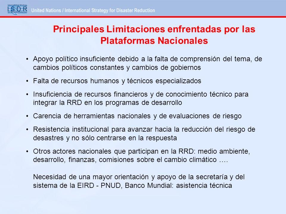 Principales Limitaciones enfrentadas por las Plataformas Nacionales Apoyo político insuficiente debido a la falta de comprensión del tema, de cambios
