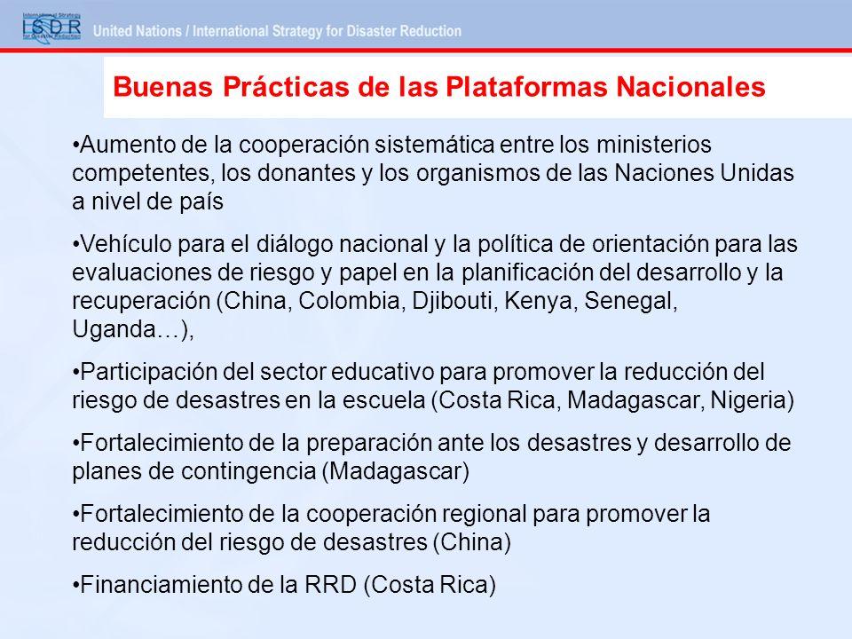 Aumento de la cooperación sistemática entre los ministerios competentes, los donantes y los organismos de las Naciones Unidas a nivel de país Vehículo