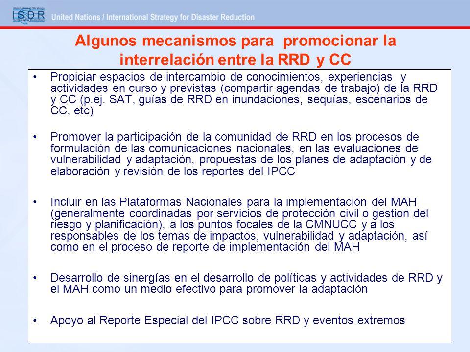 Algunos mecanismos para promocionar la interrelación entre la RRD y CC Propiciar espacios de intercambio de conocimientos, experiencias y actividades