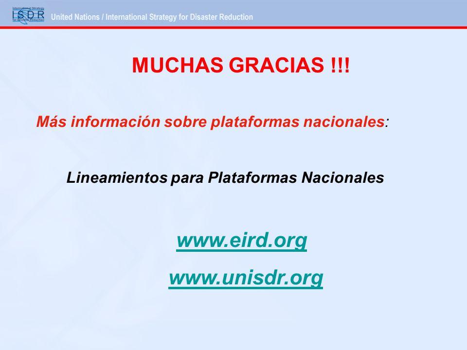 Más información sobre plataformas nacionales: Lineamientos para Plataformas Nacionales www.eird.org www.unisdr.org MUCHAS GRACIAS !!!