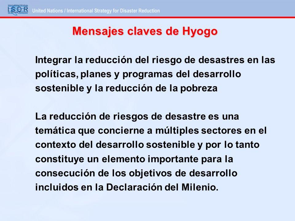 Mensajes claves de Hyogo Integrar la reducción del riesgo de desastres en las políticas, planes y programas del desarrollo sostenible y la reducción d
