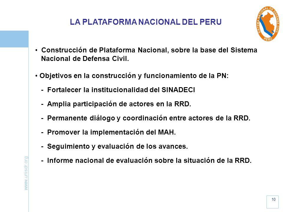 www.unisdr.org 10 Construcción de Plataforma Nacional, sobre la base del Sistema Nacional de Defensa Civil. Objetivos en la construcción y funcionamie