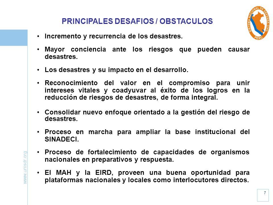 www.unisdr.org 7 PRINCIPALES DESAFIOS / OBSTACULOS Incremento y recurrencia de los desastres. Mayor conciencia ante los riesgos que pueden causar desa