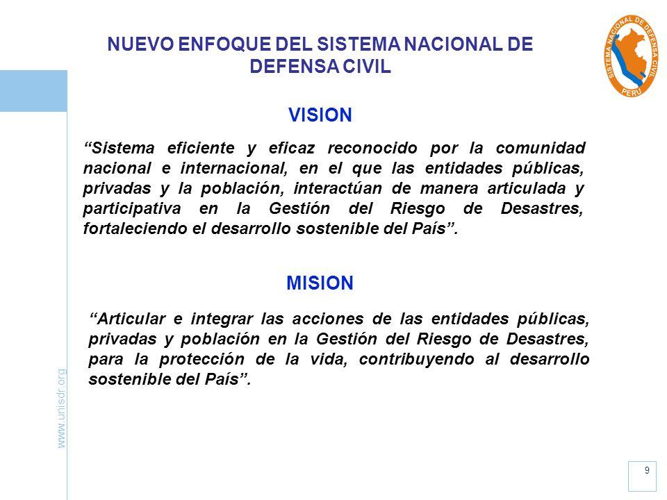 www.unisdr.org 9 NUEVO ENFOQUE DEL SISTEMA NACIONAL DE DEFENSA CIVIL VISION Sistema eficiente y eficaz reconocido por la comunidad nacional e internac