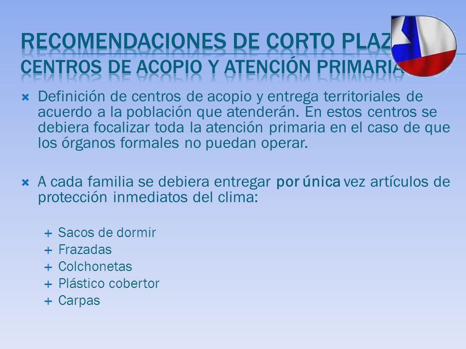 Definición de centros de acopio y entrega territoriales de acuerdo a la población que atenderán.