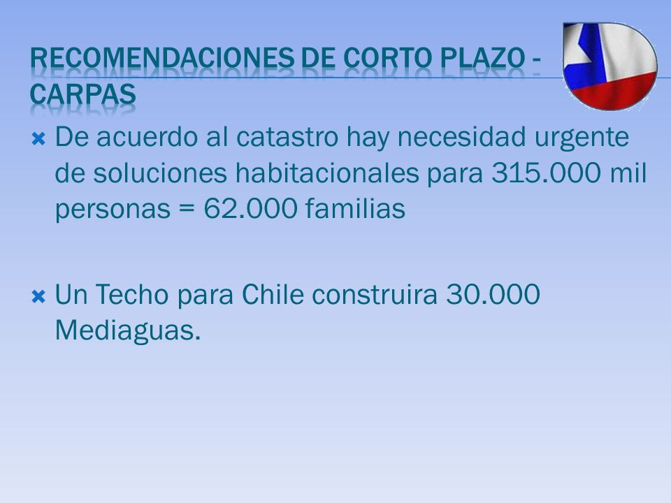 De acuerdo al catastro hay necesidad urgente de soluciones habitacionales para 315.000 mil personas = 62.000 familias Un Techo para Chile construira 3