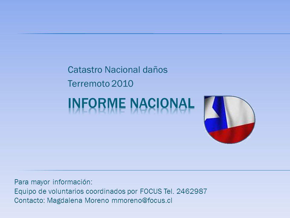 Catastro Nacional daños Terremoto 2010 Para mayor información: Equipo de voluntarios coordinados por FOCUS Tel. 2462987 Contacto: Magdalena Moreno mmo