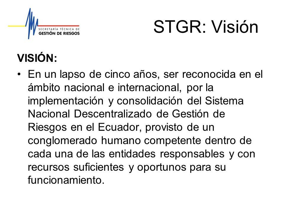 STGR: Visión VISIÓN: En un lapso de cinco años, ser reconocida en el ámbito nacional e internacional, por la implementación y consolidación del Sistem