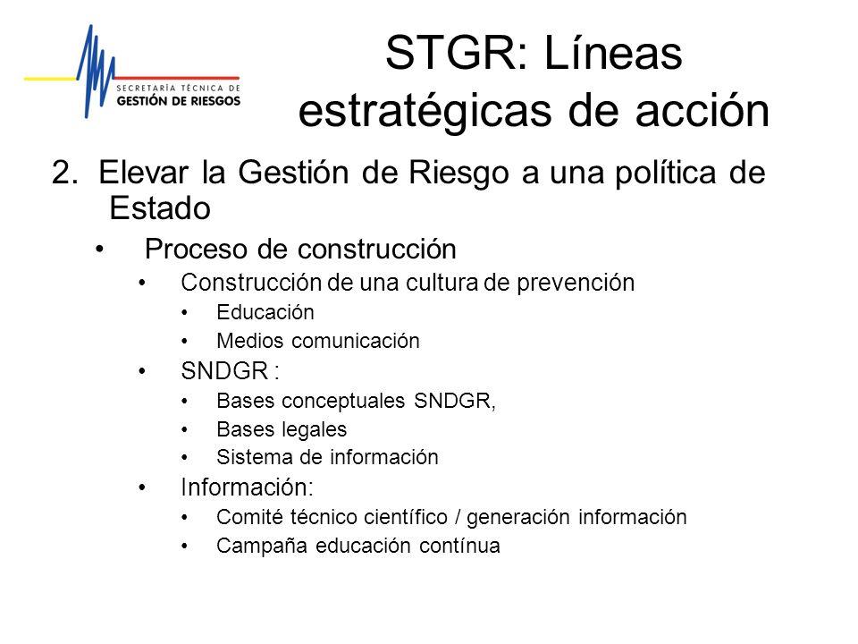 STGR: Líneas estratégicas de acción 2. Elevar la Gestión de Riesgo a una política de Estado Proceso de construcción Construcción de una cultura de pre