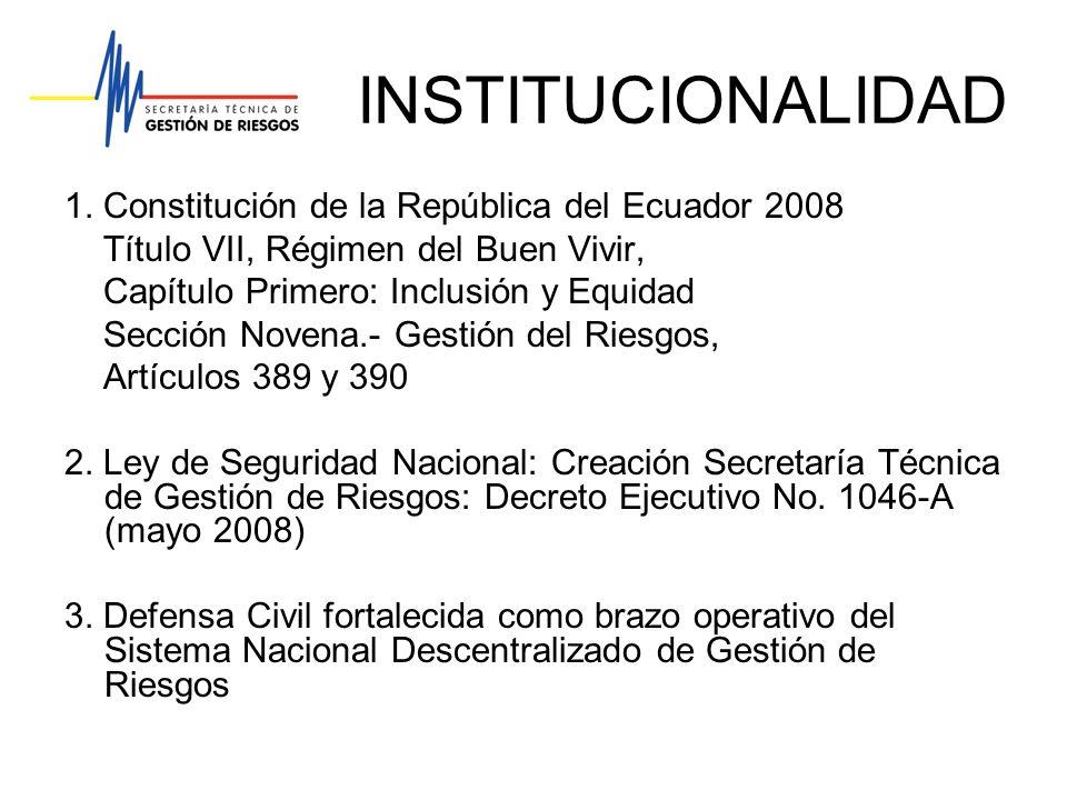 INSTITUCIONALIDAD 1. Constitución de la República del Ecuador 2008 Título VII, Régimen del Buen Vivir, Capítulo Primero: Inclusión y Equidad Sección N