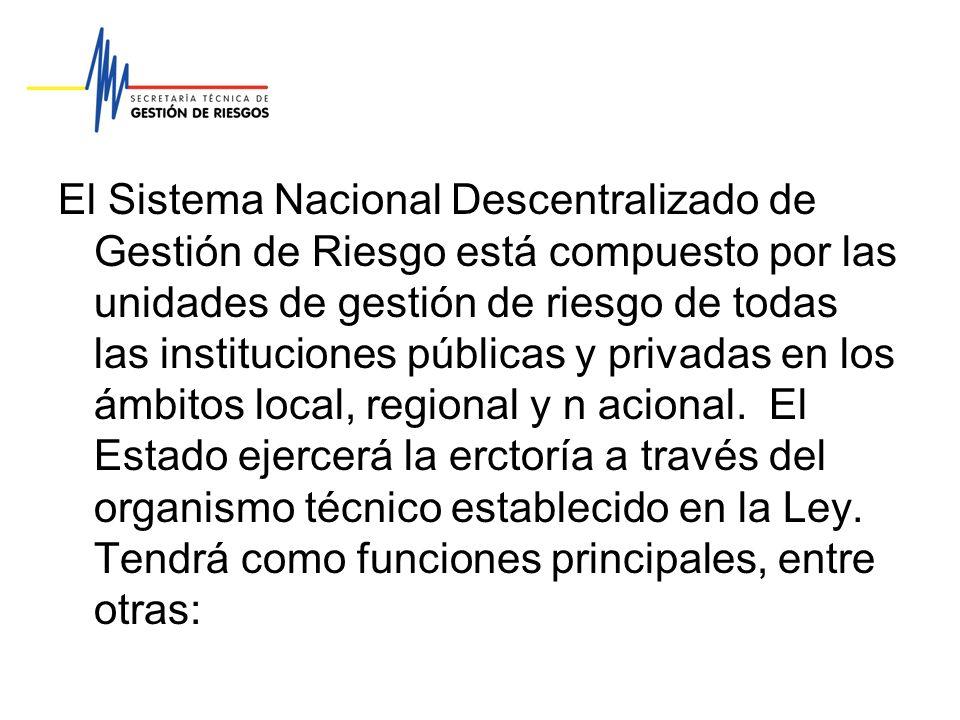El Sistema Nacional Descentralizado de Gestión de Riesgo está compuesto por las unidades de gestión de riesgo de todas las instituciones públicas y pr