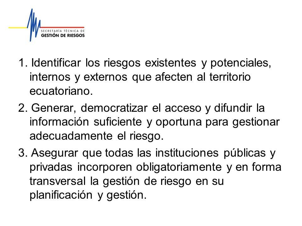 1. Identificar los riesgos existentes y potenciales, internos y externos que afecten al territorio ecuatoriano. 2. Generar, democratizar el acceso y d