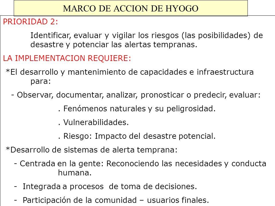MARCO DE ACCION DE HYOGO PRIORIDAD 2: Identificar, evaluar y vigilar los riesgos (las posibilidades) de desastre y potenciar las alertas tempranas. LA