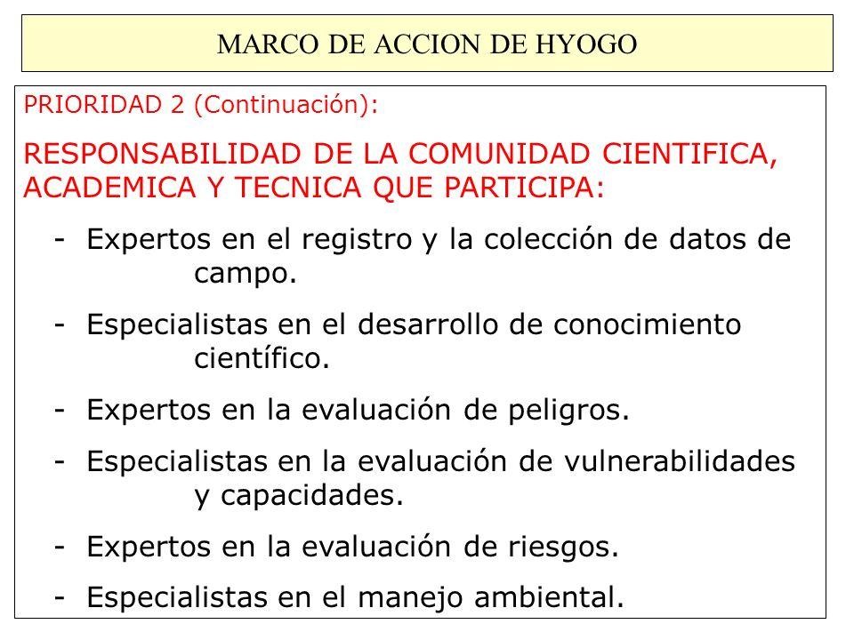 MARCO DE ACCION DE HYOGO PRIORIDAD 2 (Continuación): RESPONSABILIDAD DE LA COMUNIDAD CIENTIFICA, ACADEMICA Y TECNICA QUE PARTICIPA: - Expertos en el r